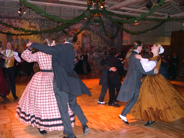 Dancing at Fezziwig's party, at The Dickens Christmas Fair, San Francisco 2002