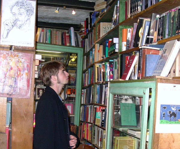 Drew at Shakespeare and Company bookstore, Paris 2005