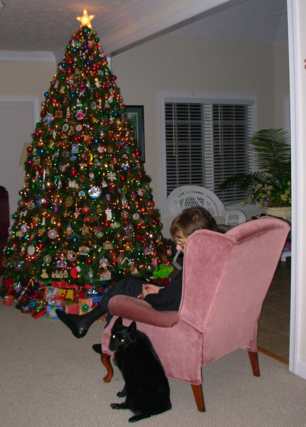 Gloria and Pasha sit by our tree, Christmas Eve 2008
