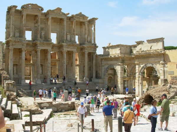 Tourists at the Library of Celsus, Ephesus 2008