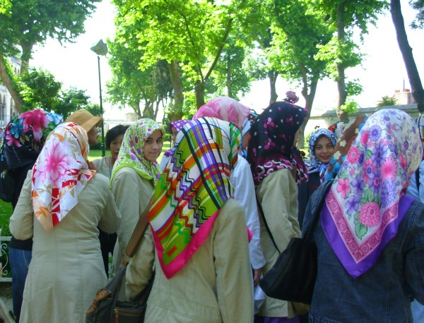 Women gather outside an Istanbul mosque, 2008