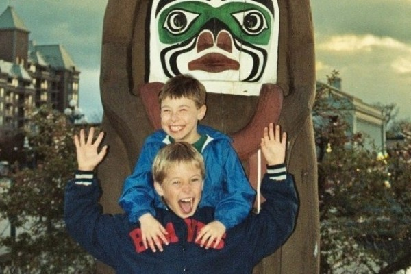 Our sons laugh it up in Victoria, British Columbia 1993