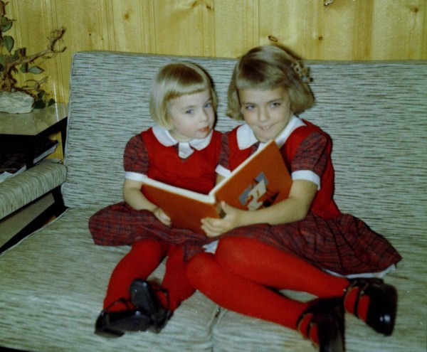 My sister and I reading, sometime around 1960
