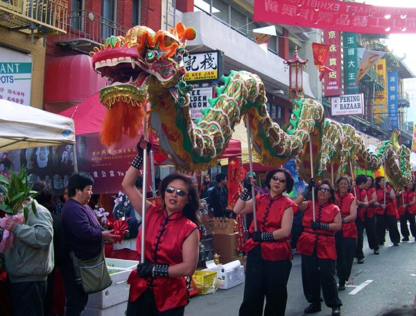 The Chinese New Year dragon in Chinatown, San Francisco 2004