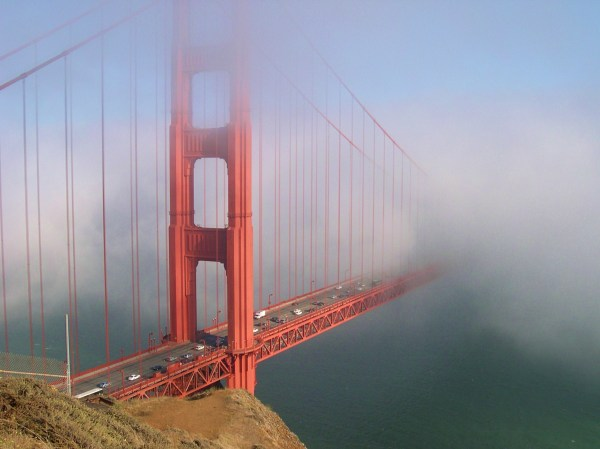 The stunning Golden Gate Bridge, photographed through the fog from Marin Headlands, 2003