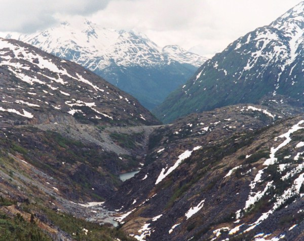 I snapped this photo somewhere between Skagway, Alaska and the Yukon, in June 2000