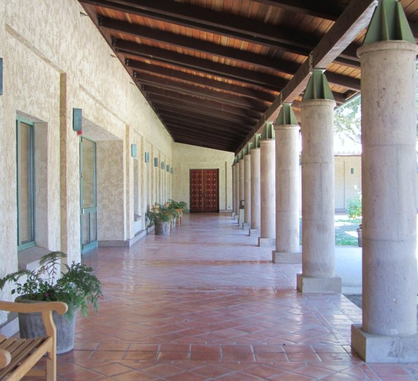 This covered passage at the Reagan Library in Simi Valley, CA, was a refreshing encounter with simplicity.  I took this photographed in August 2011, and looking at it, I can almost feel the soft breeze of Southern California.