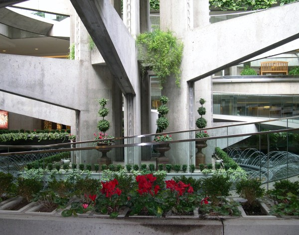 A garden adorns the stark concrete of a spiral walkway in the Embarcadero Center, San Francisco, January 2004