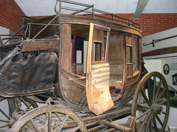 A genuine stagecoach on display at Marshall Gold Discovery SHP in Coloma, California 2004