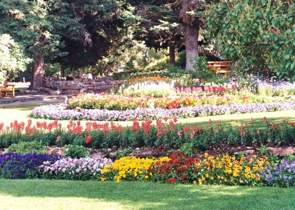 One of many beautiful Canadian gardens -- this one is in Banff, 1999