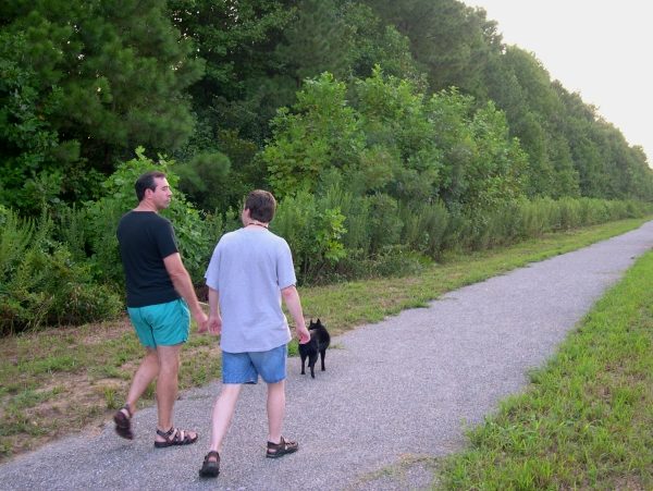 Jeff, Matt and Pasha walk the fitness trail of our York neighborhood, August 2007