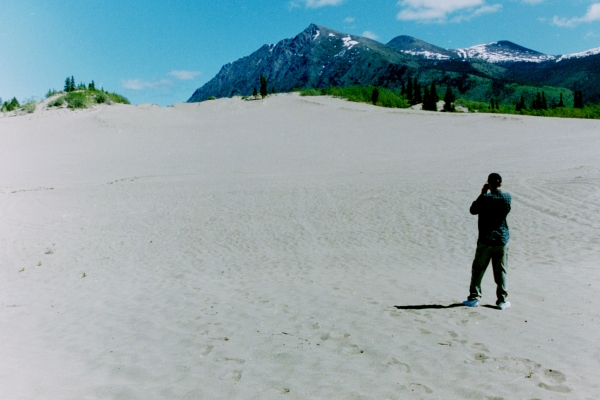 Drew photographs the eerily beautiful Carcross Desert, Yukon, Canada, June 2000