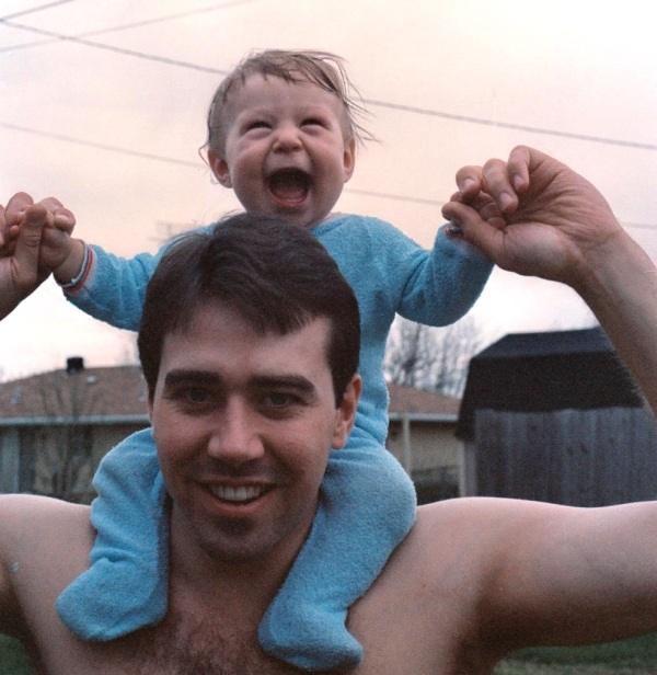 Matt and his Daddy, happy together from the very beginning, 1986.