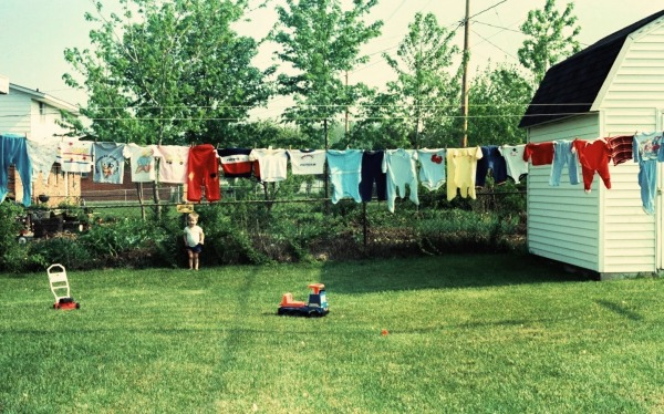 That's Drew behind our clothesline in Huber Heights, Ohio, 1986
