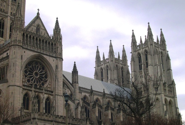 A December 2004 photo of Washington National Cathedral, built in knowledge inspired by faith