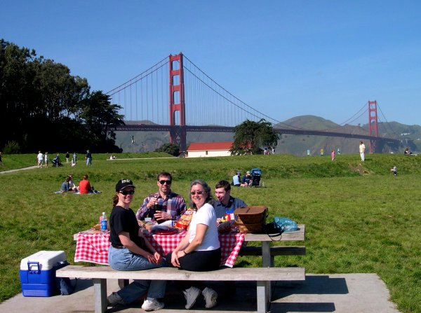 With friends at one of our favorite picnic spots, Crissy Field in San Francisco, February 2003