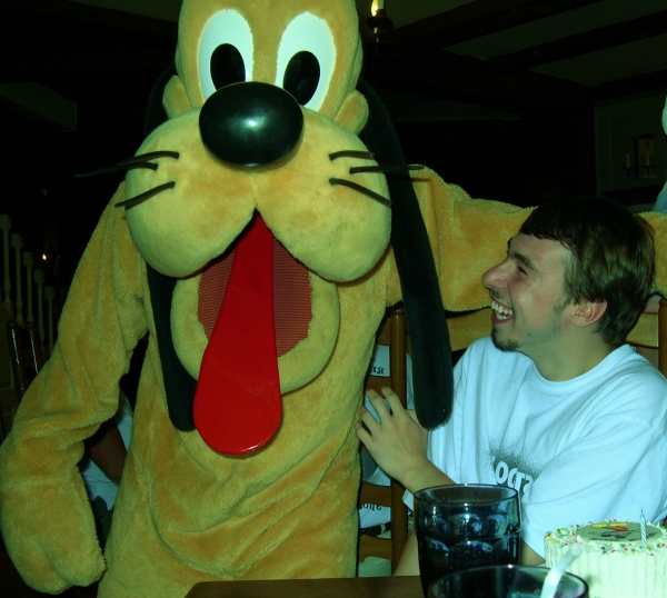 Pluto clowns with Matt at Walt Disney World in Florida, 2004