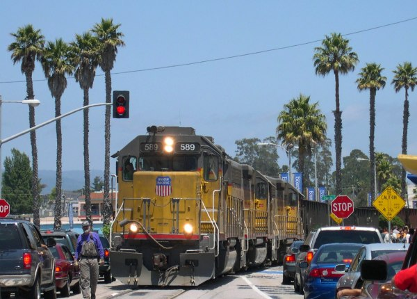 This freight train obviously had the right of way! Santa Cruz, California, 2003