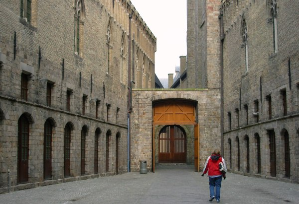 Out of the walls and through the gate:  Amy goes exploring with me in Ypres (Ieper) Belgium, one March evening in 2007