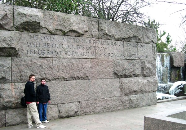 Drew and Matt at the FDR Memorial in Washington DC, December 2004