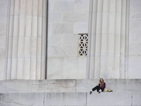 The Lincoln Memorial provides a space for solitude in crowded DC, April 2012