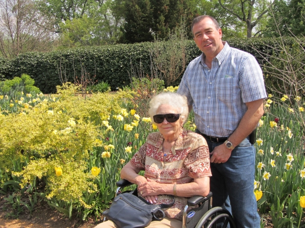 Mom had just had eye surgery, but with Jeff's help, she was able to enjoy a lovely day at the Atlanta Botanical Garden in March 2012
