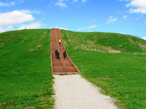 Visitors climb the Cahokia Indian Mounds near St. Louis, Missouri, April 2008