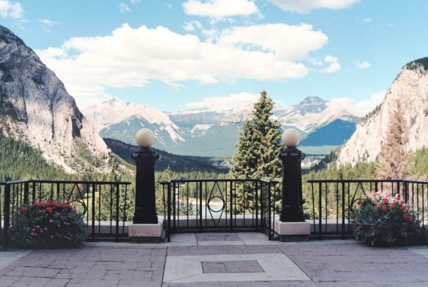 The terrace of the Banff Springs Hotel, Alberta, Canada, September 1999