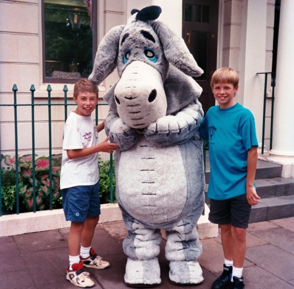 Matt and Drew are among countless readers who love Eeyore.  Walt Disney World, 1995