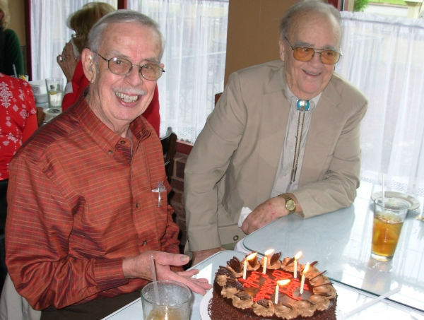 "Daddy on his 80th birthday with his lifelong friend and fellow pilot,my beloved ""Uncle Tuffy"" April 2008"