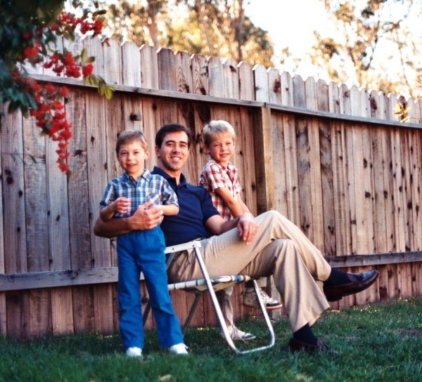 Jeff and the boys at our home at Vandenberg AFB, California, December 1990