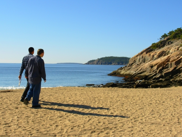 Jeff and Matt stroll along the water's edge at Acadia National Park, Maine, in September 2007