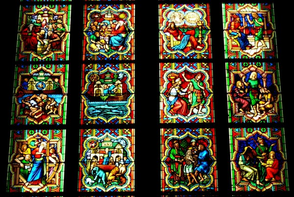 Detail of a stained glass window in Cologne Cathedral, Germany, April 2007