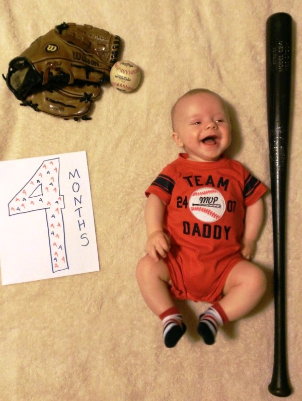 Grady at four months, grinning and growing!