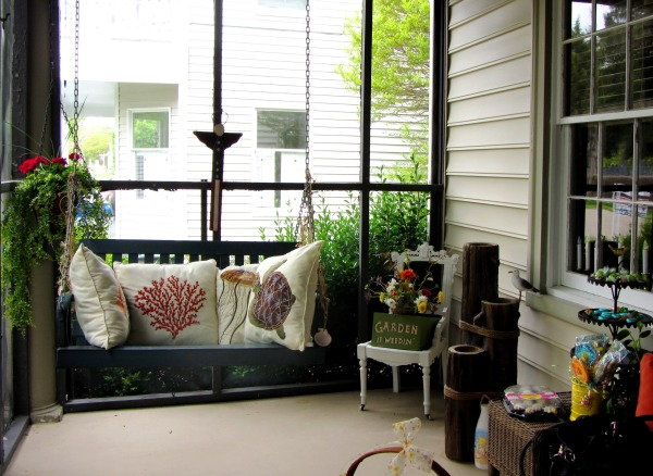 My friend Darla's porch, seen here in May 2013, is a favorite spot, always decorated for the season!