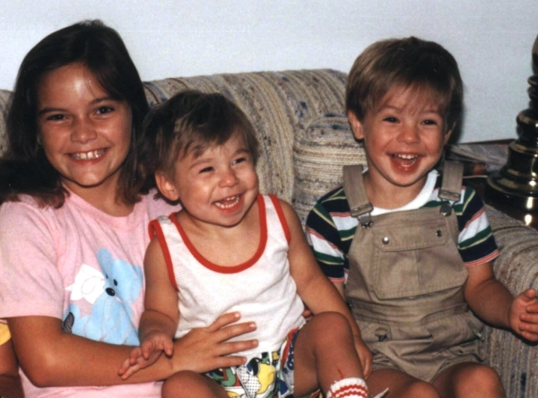 Matt and Drew laugh it up with their cousin Emily, 1988