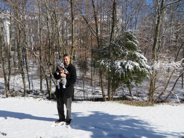 Grady saw snow for the first time on landing at DCA. Here he is with his Daddy, behind MeMe and PaPa's home in Alexandria, January 3, 2014.