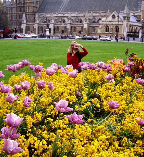 Kathy and I photograph each other near Parliament Square, London, during springtime in 2001.