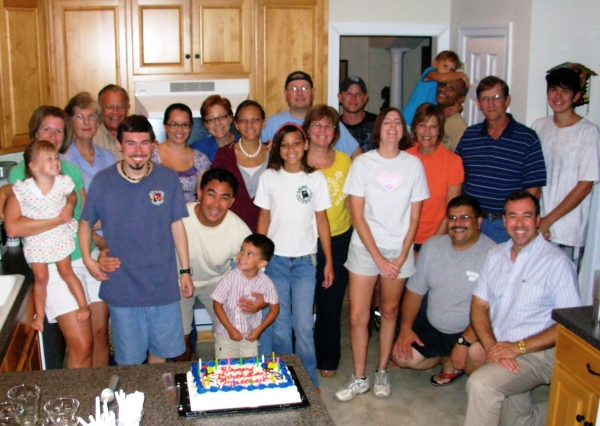 Friends gather to celebrate Matt's birthday in August, 2009