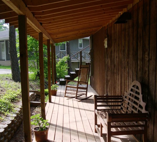 The back porch of the Nocking Point, my parents' lakefront cabin, in May 2003
