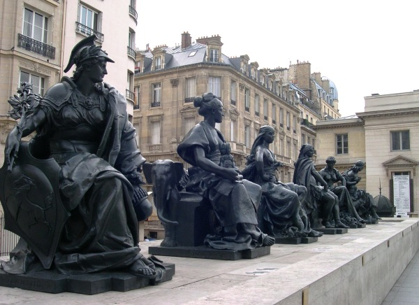 The statues of the six continents at the Esplanade du Musée d'Orsay, Paris, September 2005