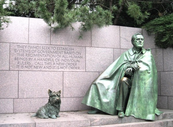 The FDR Memorial in Washington D.C. includes statues of his wife Eleanor and his dog Fala. December 2004