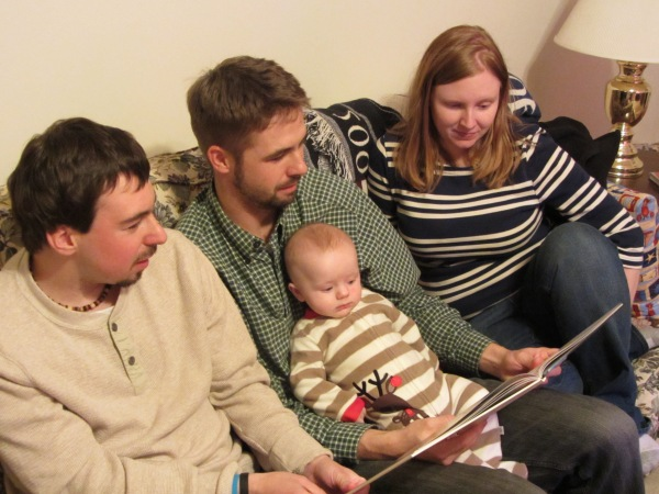 Grady listens to the famous poem read by his parents and Uncle Matt, Christmas Eve 2013.