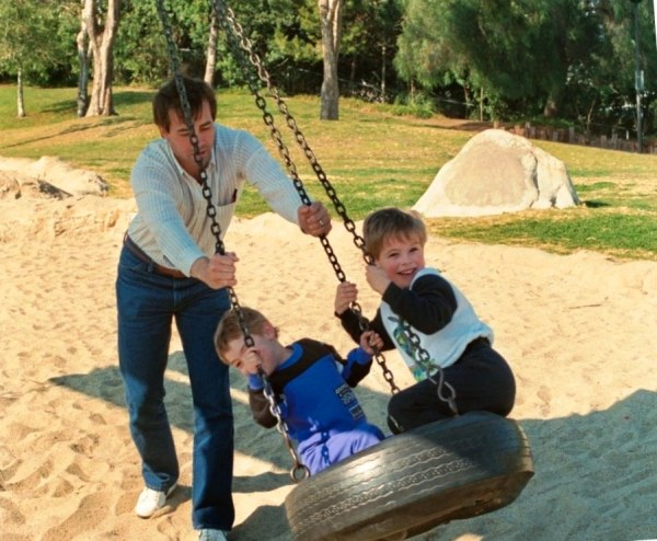 I admit it - Jeff and I enjoyed swings as much as the kids did! Torrance, CA, January 1990