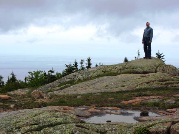 Jeff enjoys the view from higher ground, Acadia National Park, June 2012