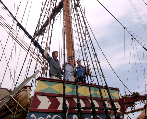 My favorite guys aboard a replica of the Susan Constant Jamestown Settlement, Virginia, August 2005
