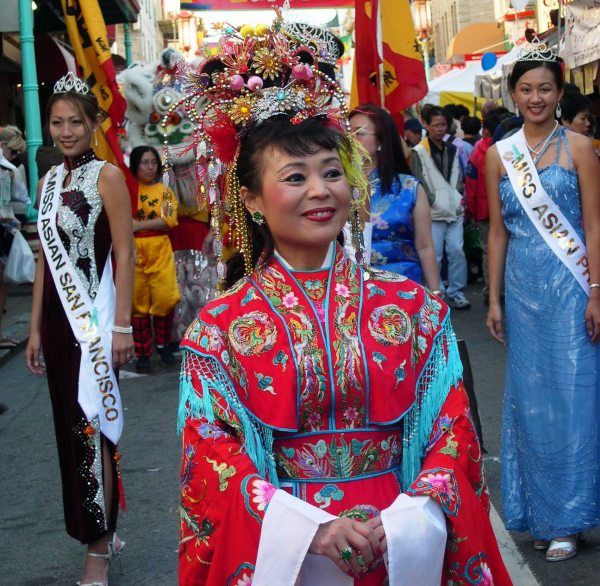 The yearly Autumn Moon Festival celebrates the season with fitting grandeur.  Chinatown, San Francisco, September 2003