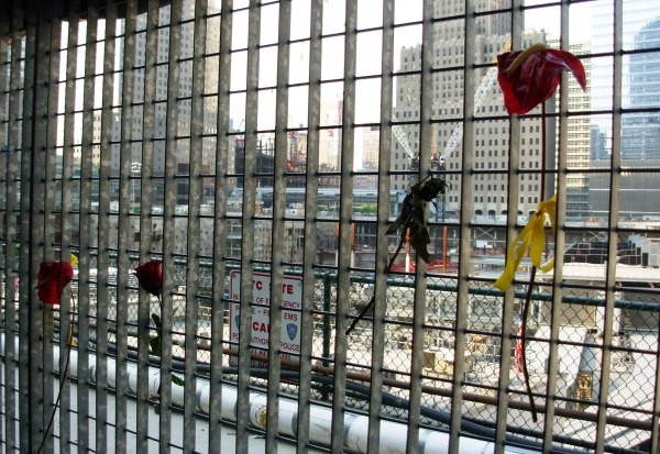 Memorial flowers left on the fences surrounding Ground Zero, May 2007