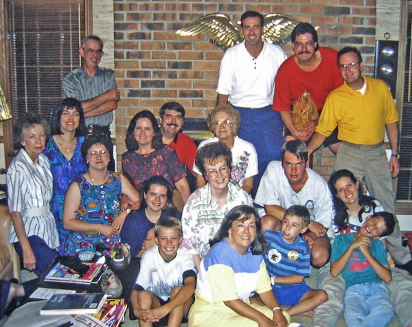 Members of Jeff's family joined mine in Atlanta to encourage us on the night before Matt's second open heart surgery in July 1994.