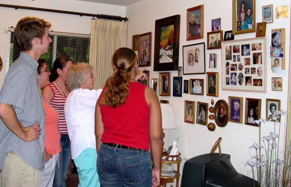 Teens from church visit a senior member's home and take a closer look at her life.  Fairfield, CA, August 2003.